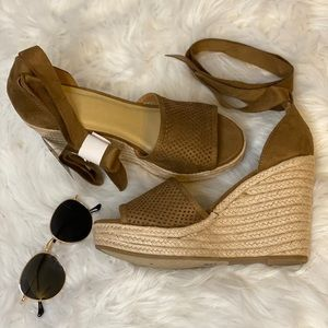 Suede Strapped Espadrille Wedges Brown